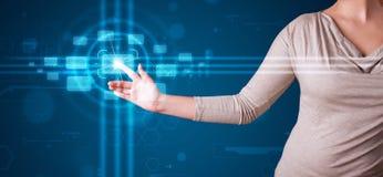 Trängande tekniskt avancerad typ för kvinna av moderna knappar Arkivfoton