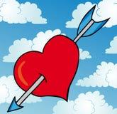 Trängd igenom hjärta på skyen Fotografering för Bildbyråer
