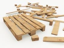 Träpalett och dess konstruktionsbräden Royaltyfria Bilder