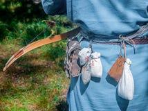 Träpilbågepilar är i skogen fotografering för bildbyråer