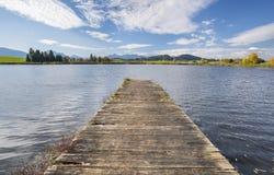 Träpir i den härliga sjön på fjällängberg fotografering för bildbyråer