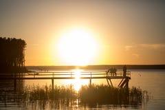 Träpir på solnedgången Royaltyfri Bild
