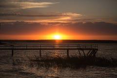 Träpir på solnedgången Fotografering för Bildbyråer