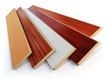 Träplankor för parkettnolla-laminat av de olika färgerna på whit stock illustrationer