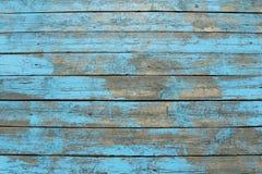 Träplankor med skalningsblåttmålarfärg Royaltyfri Fotografi