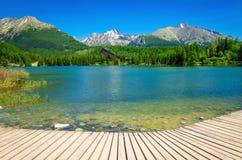 Träplattform med sikt på den klara bergsjön Arkivfoto