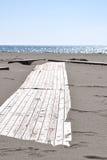 Träplattform på stranden royaltyfri foto