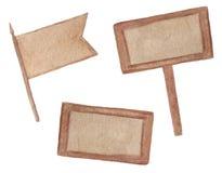 Träplattor - skylten, stället för en etikett - vattenfärg hand-dragen illustration som isoleras på vit bakgrund vektor illustrationer