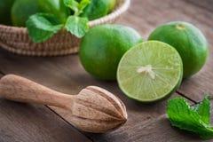 Träpress och limefrukt på tabellen Fotografering för Bildbyråer