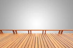 Träpryda eller däcka som isoleras på tomt grå färgutrymme för desi Fotografering för Bildbyråer
