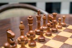 Träschack av schackbrädet royaltyfria bilder