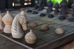 Träschack, riddare på schackbrädet arkivbilder