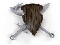 Träsköld - svärd och yxa stock illustrationer