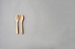 Träsked och gaffel Arkivfoton
