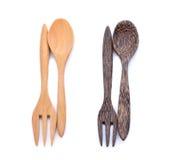 Träsked och gaffel Royaltyfri Foto