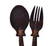 Träsked och gaffel Royaltyfri Fotografi