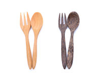 Träsked och gaffel Arkivbilder