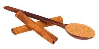 Träsked och pinnar av kanel Royaltyfri Fotografi