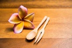 Träskedar och gaffel Fotografering för Bildbyråer