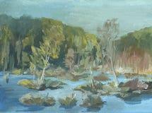 Träsket träd är i vattnet, höstlandskap royaltyfria bilder