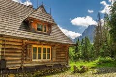 Träskogvaktarestuga i bergen Arkivbild