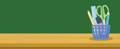 Träskrivbord- och brevpapperkorg för skolastudenter, begrepp för utbildningsbakgrundsbaner royaltyfri illustrationer