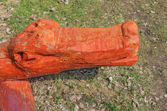 Träskulptur av krokodilen royaltyfria foton