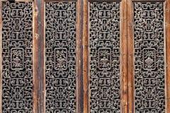 Träskulpturdörrar Arkivfoto