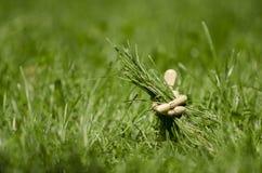 Träskyltdocka med gräskärven i händer royaltyfri bild