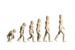 Träskyltdockaprototyp av mänsklig evolution Royaltyfri Bild
