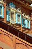 Träslott av tsar Aleksey Mikhailovich i Kolomenskoe rekonstruktion, Moskva, Ryssland Royaltyfri Fotografi