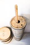 Träsmörmjölkkanna för antikt land, Island Fotografering för Bildbyråer