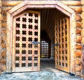 Träsnida dörr royaltyfri fotografi