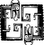 Träsnitt Dragon Pattern arkivfoto