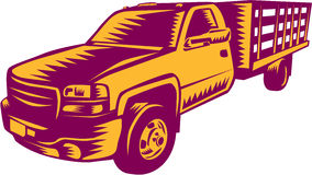 Träsnitt för varubillastbil Arkivfoto