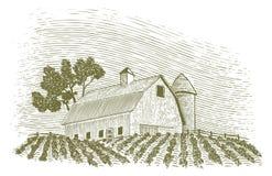 Träsnittladugård och silo Royaltyfria Bilder