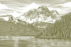 Träsnittlandskap med berget royaltyfri illustrationer