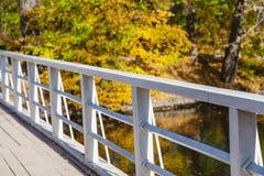 Träspång över floden om den ljusa höstdagen Royaltyfria Bilder