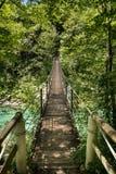 Träspång över floden Soca Arkivfoton