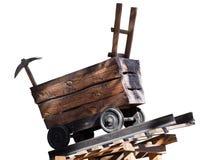 Träspårvagn med en hacka royaltyfri foto