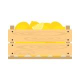 Träspjällåda med citroner Arkivfoto