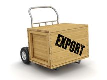 Träspjällåda med lastbilen för export förestående Avbilda med den snabba banan stock illustrationer