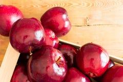 Träspjällåda med röda äpplen arkivbild