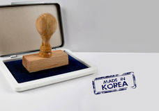 Trästämpel som GÖRAS I KOREA Royaltyfri Fotografi