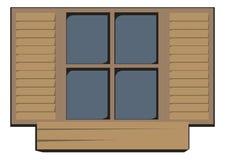 trästängt fönster royaltyfri fotografi