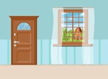 Trästängt ingångsdörr och fönster med sommarsikt av landskapet med tecknad filmhuset stock illustrationer