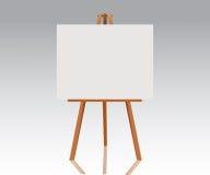 Trästaffli med tom kanfas Tomt utrymme som är klart för din advertizing, design och presentation Vektoråtlöje upp illustration Arkivfoto