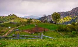 Trästaket av landsbygd på gräs- backar arkivfoto