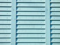 Trästaket för gamla tappningblått Arkivbild