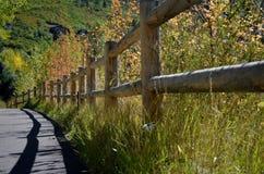 Trästaket i aspen, Colorado Arkivbilder